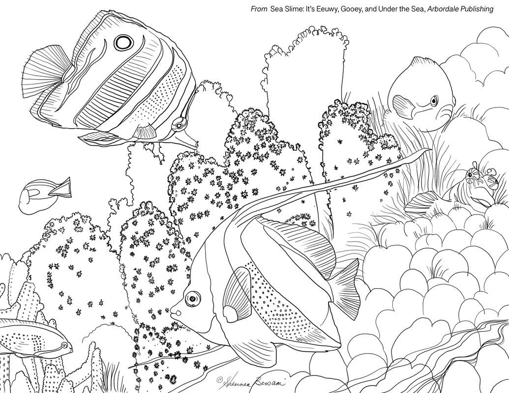 Under sea coloring page coral and angel fish