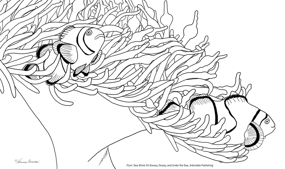two clownfish Sea Slime It's Eeuwy Gooey and Under the Sea coloring page Shennen Bersani illustrator