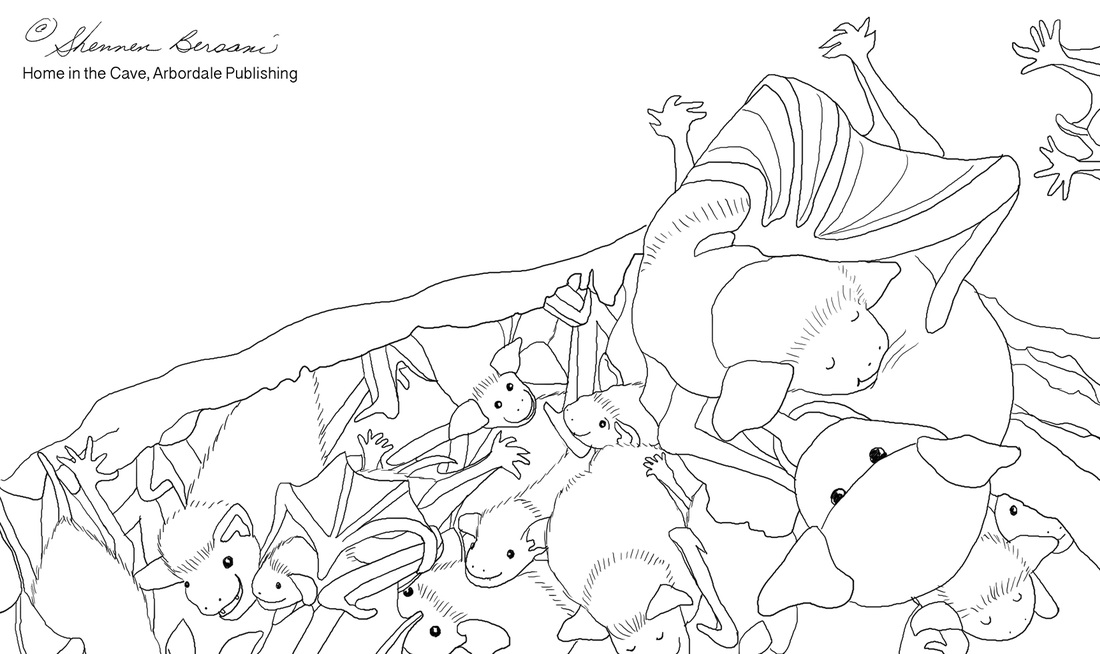 Baby Bat and Momma Bat coloring page. Shennen Bersani